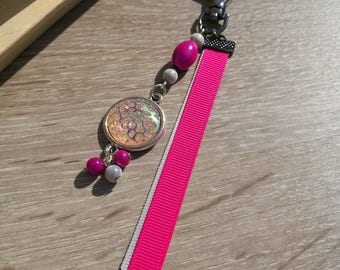 Jewelry bag Keychain pink and gray, cabochons