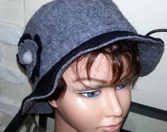Winter Hat boiled wool black and gray