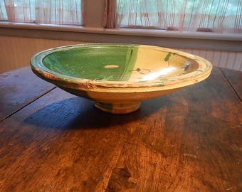 French Pottery Tian Bowl ~ Floral Green and Yellow