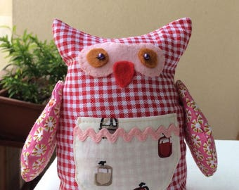 Fabric OWL - OWL toy / decoration - pin