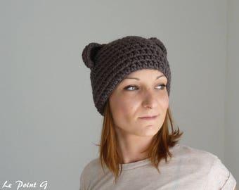 Brown Bear Beanie / Bear beanie for woman and men / Hat Beanie brown bear wool  alpaca design original new character accessorie fashion