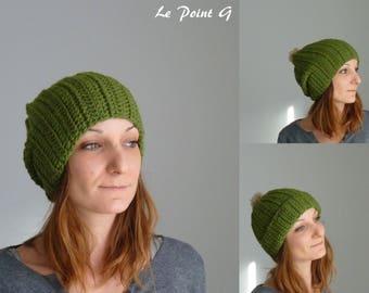 Bonnet long vert chiné et son pompon beige / bonnet femme bonnet homme bonnet crochet bonnet en laine bonnet original bonnet oversize
