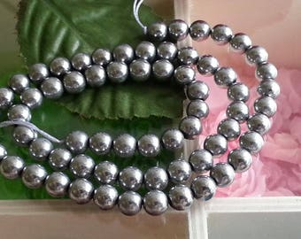 wire 65 beads 6mm pyrite stones, hole 1 mm