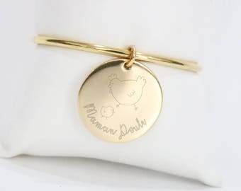 70mm - gold, steel bangle Personalized Bracelet custom engraving * custom Creation *.