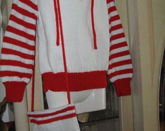 Sweater with hood and tote bag striped 8 years.