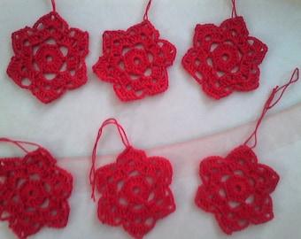 Christmas tree decor: 6 small red stars crochet