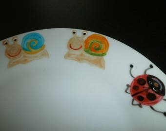 dessert plate 6 Ladybug & snail handpainted porcelain of limoges