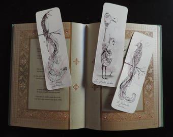 Set of 3 bookmarks original 'strange birds'