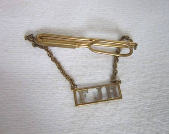 "Retro Swank Men's Tie Bar with Chain & Monogram  "" F J H """