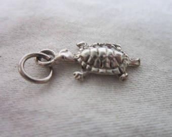 Vintage Silver Charm Bracelet Charm Turtle  Cute
