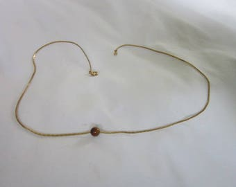 Retro Gold Tone Box Chain Necklace with Tiger Eye Stone Bead
