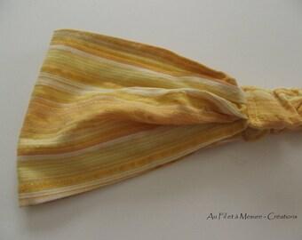 Headband yellow striped cotton and fine gilding