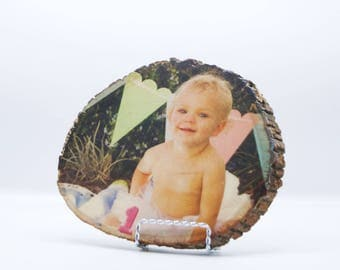 Photo on wood, Wood Rounds, Nursery Gift, Engagement gift,Gift for Her,Gift for Mom, Babies 1st birthday,Image Transfer, Mothers Day