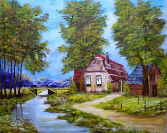 "Painting on canvas ""Country landscape"""