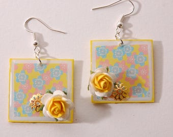Cherry and pink, yellow, blue and pink flowers earrings