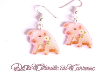Earrings kawaii pig