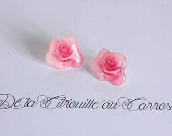 Pink earrings flower studs