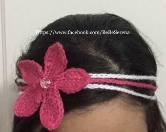 Pink and white flower headband handmade in crochet