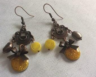 """""""lemon copper"""" earrings"""