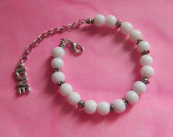 White and silver memory bracelet
