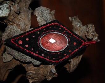 leather crimp rutilated quartz pendant