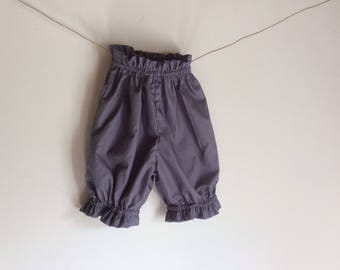 Gray and plum elastic mixed bloomers