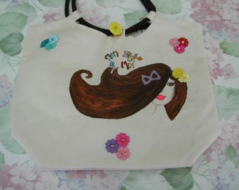 Lined with Liberty fabric hand-painted canvas shoulder bag