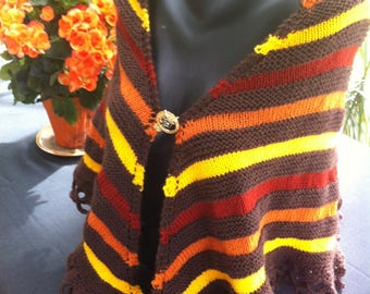 Autumn tones hand knitted shawl