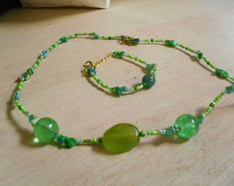 set (necklace and bracelet) timeless, colorful, (green)