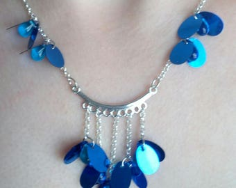 "necklace ""Gabriella"" MULTISTRAND blue barrette"