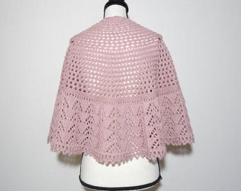 Pink hand knitted lace shawl, wool and alpaca lace shawl, semicircular lace shawl, wedding shawl, shoulder shawl, gift for her