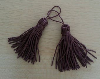 Handmade tassels, chestnut brown. Set of 2
