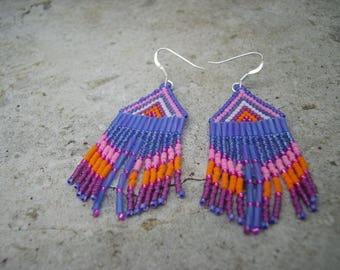 Huichol orange/purple earrings