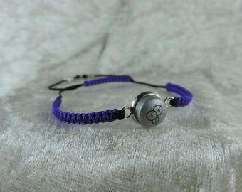 Psychedelic purple geeky, recycle button, adjustable bracelet bracelet bracelet