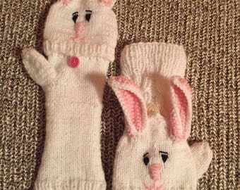 Fingerless gloves soft and warm white color with bunny head that folds to make gloves