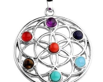 Silver plated - 7 chakras lotus flower pendant