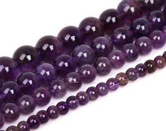Round bead Amethyst 8mm x 10 (grade AAA)