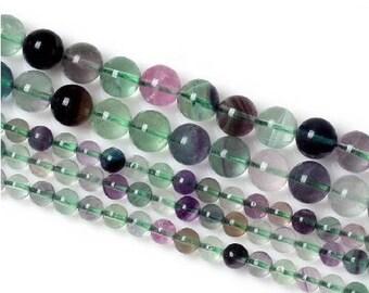 8 x 10 mm Rainbow fluorite round bead