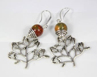 earring stone Picasso bead 10 mm, and Silver 925, 65 mm