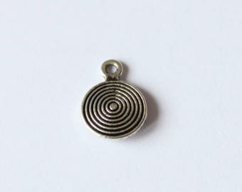 pendants round 8 mm silver swirl, set of 10