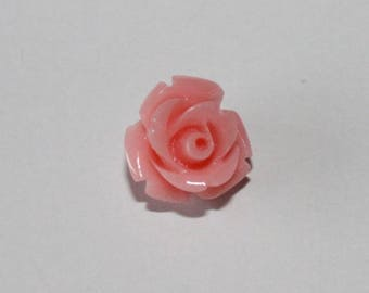 Pink cabochon rose pale, 10 mm, set of 3