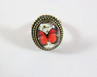 Red Butterfly cabochon Adjustable ring