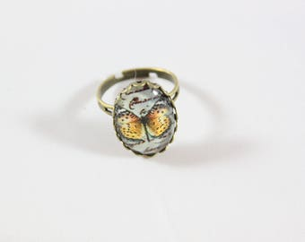 adjustable cabochon ring, butterfly