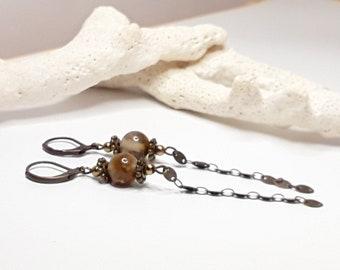 Long brown earrings