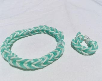 Mint Green/White Fishtail Bracelet and Ring Set