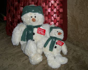 """Vintage Plush Snowman by GUND Cream 12"""" """"Blowout"""" New With Tag"""