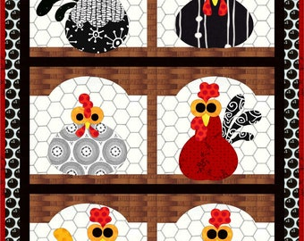 Fresh Eggs, applique wall hanging
