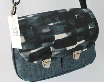 Denim Blue and black cotton canvas briefcase style satchel
