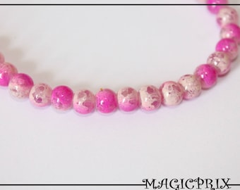 Set of 30 pearls tinted 1386 6 mm Fuchsia & Cream marble glass