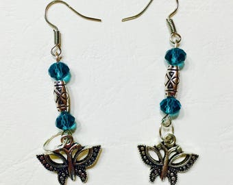 Earrings blue beads and Butterfly